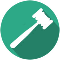 gavel image with green background