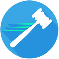 gavel image with blue background